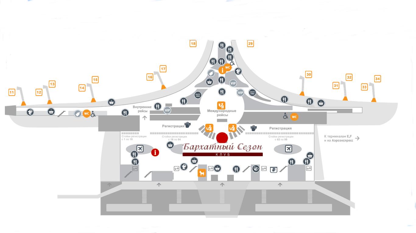 Терминал д шереметьево схема вылета